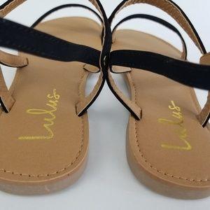 4b32115852ba Lulu s Shoes - LULUS Rika black Nubuck Flat Sandals